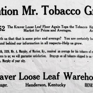 Advertisement for Kraver Tobacco House (Circa 1920)