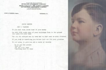 Warning letter to Kraver from local Union. Soon after, his grandson was sent away to military school for fear he would be kidnapped.