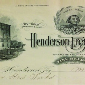 Invoice from the original Henderson Brewing Co (Circa 1910)