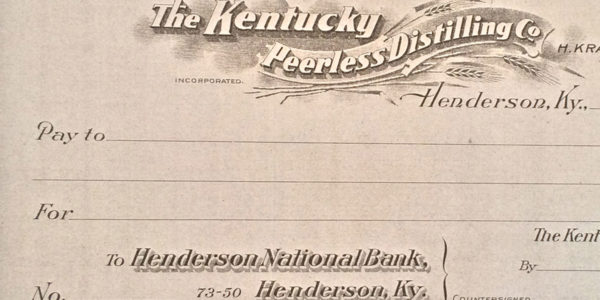 The Kentucky Peerless Distilling Company original blank check (Circa 1910)