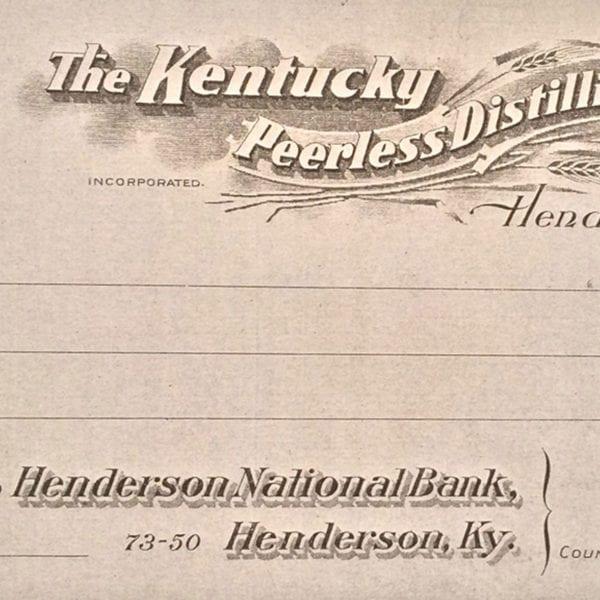 The Kentucky Peerless Distilling Company original blank check (Circa 1910)