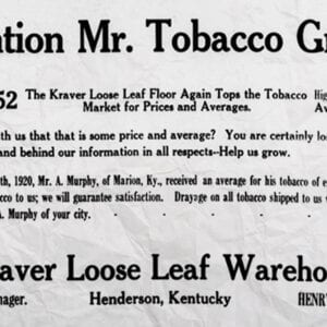 Advertisement for Kraver Tobacco House (Circa 1920)