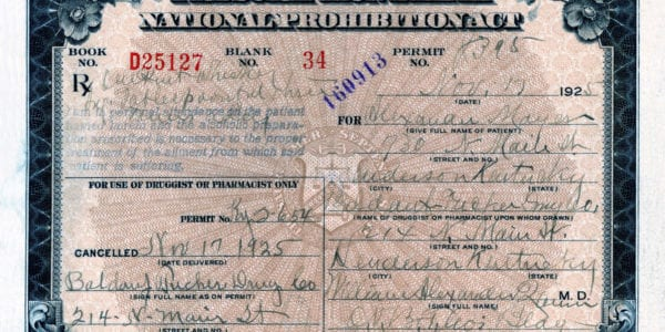 Prescription for Peerless Whiskey during prohibition (Circa 1925)