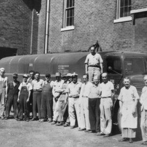"Original Kentucky Peerless Distilling employees. <br> Far right: Master Distiller–Walter ""Bix"" Herman Bixler (1886-1958)"