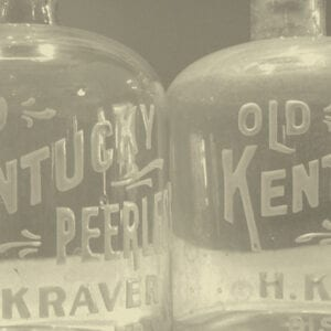 Original Kentucky Peerless glass decanters (Circa 1907)