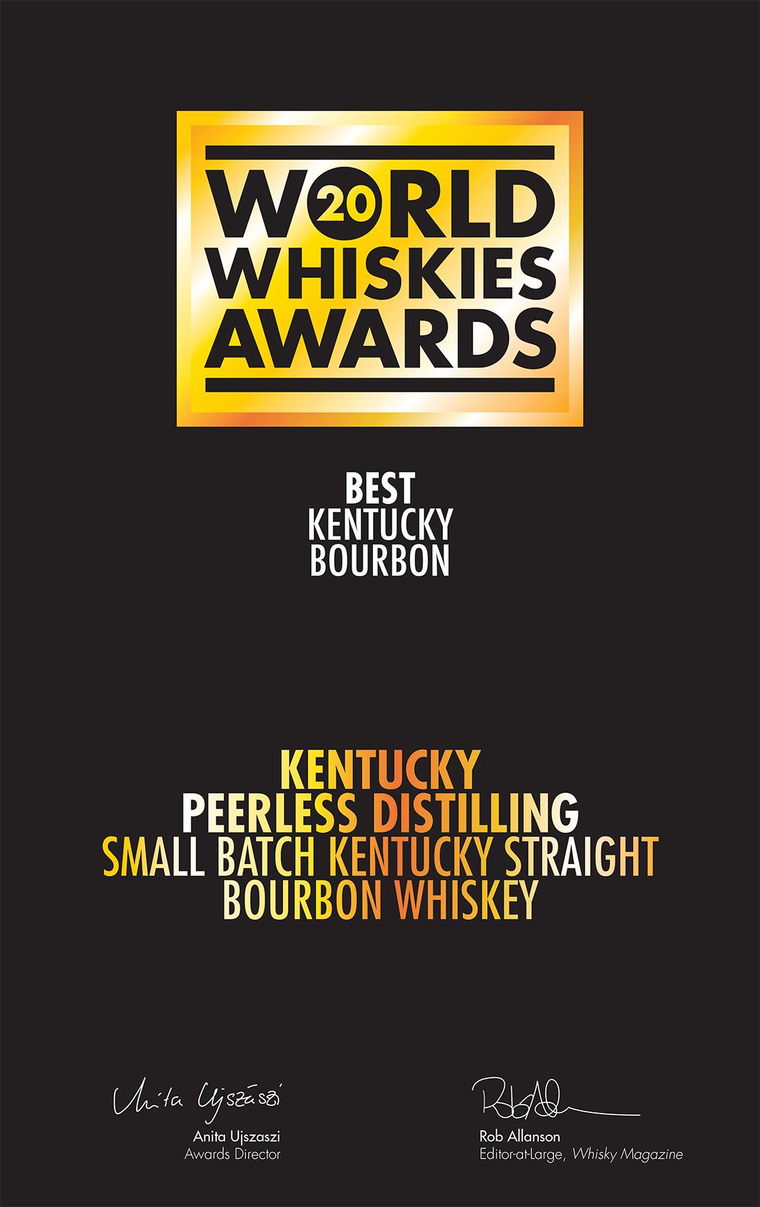Peerless Small Batch Kentucky Straight Bourbon has been named 'Best Kentucky Bourbon' in the 2020 World Whiskies Awards.