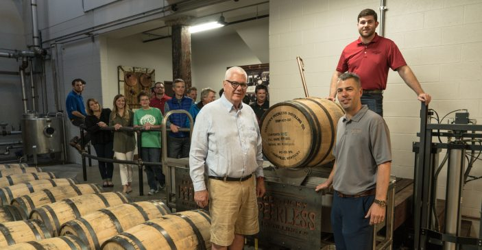 Peerless Distillery First Barrel Dump